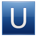 Letter U Blue Emoticon