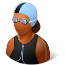 Sport Swimmer Female Dark Emoticon