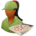 Occupations Pizza Deliveryman Female Dark Emoticon