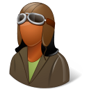 Occupations Pilot OldFashioned Female Dark Emoticon