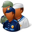 Groups Military Personnel Dark Emoticon