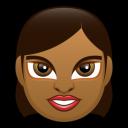 Female Face FD 1 Dark Emoticon