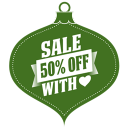 Sale 50 Percent Off Heart Green Emoticon