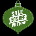 Sale 50 Percent Off Heart Green Emoticon