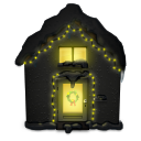 Snowy House Dark Emoticon