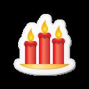 Xmas Sticker Candles Emoticon
