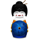 Geisha Japan Blue Emoticon