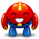 Red Monster Happy Emoticon