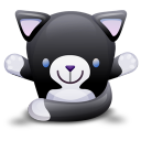 Cat Black White Emoticon