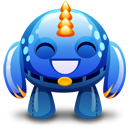Blue Monster Happy Emoticon