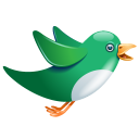 Twitter Bird Flying Green Emoticon